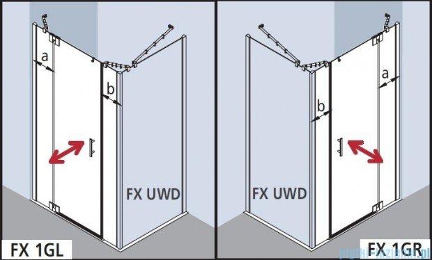 Kermi Filia Xp Drzwi wahadłowe 1-skrzydłowe z polami stałymi, prawe, szkło przezroczyste, profile srebrne 130x200cm FX1GR13020VA