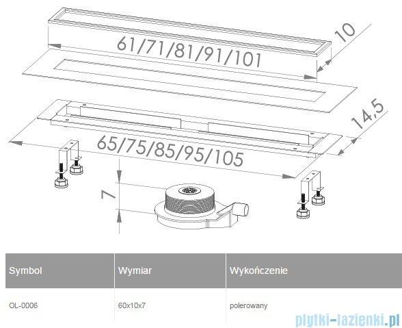New Trendy odpływ liniowy Lux 60x10x7cm OL-0006