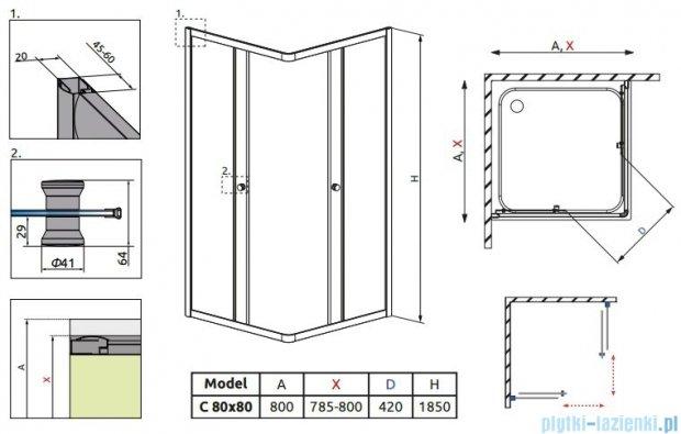 Radaway Classic C Kabina prysznicowa kwadratowa z drzwiami przesuwnymi 80x80 szkło grafitowe 30060-01-05