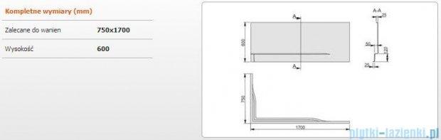 Sanplast Obudowa do wanny Free Line prawa, OWPLP/FREE 75x170 cm 620-040-0300-01-000