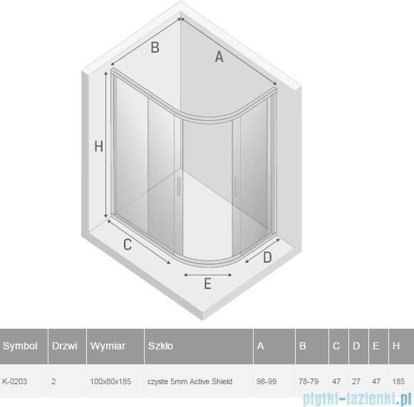 New Trendy Varia kabina asymetryczna 100x80x185cm przejrzyste K-0203