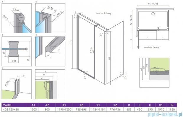 Radaway Eos KDS kabina prysznicowa 120x80 lewa szkło przejrzyste 37553-01-01NL