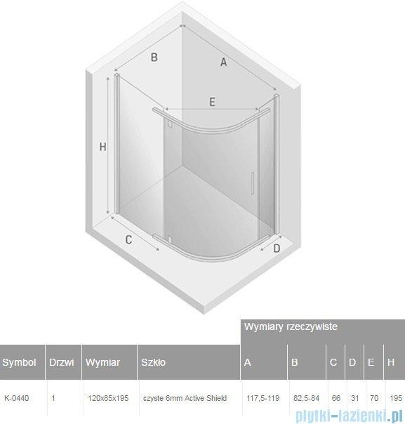 New Trendy New Komfort kabina asymetryczna 120x85x195 cm przejrzyste K-0440