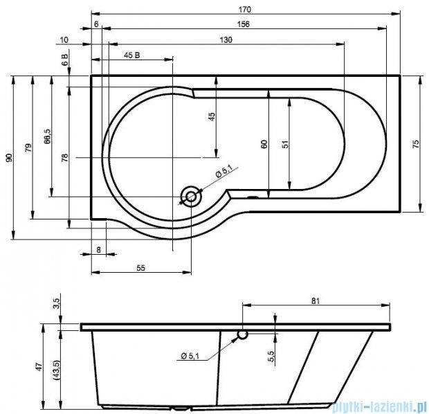 Riho Dorado Wanna asymetryczna 170x75 prawa z hydromasażem LUX Hydro 4+4+2/Aero12 BA80L8