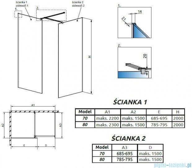 Radaway Modo New III kabina Walk-in 80x70x200 szkło przejrzyste 389084-01-01/389074-01-01/389000-01