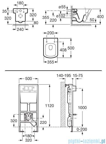 Roca Hall Duplo zestaw podtynkowy stelaż  + miska powłoka Maxi Clean A8900900MH