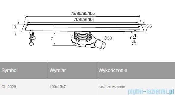 New Trendy Axo 100x10x7 cm odpływ liniowy z rusztem OL-0029
