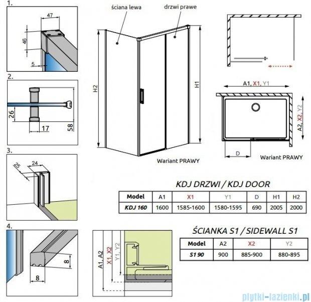 Radaway Idea Kdj kabina 160x90cm prawa szkło przejrzyste 387046-01-01R/387050-01-01L