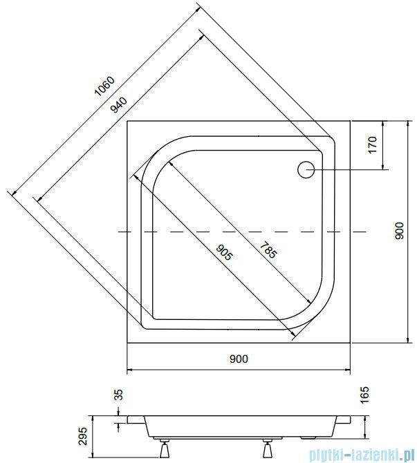 Sea Horse Sigma zestaw kabina natryskowa kwadratowa 90x90x162 chinchila + brodzik BKZ2/3/QK