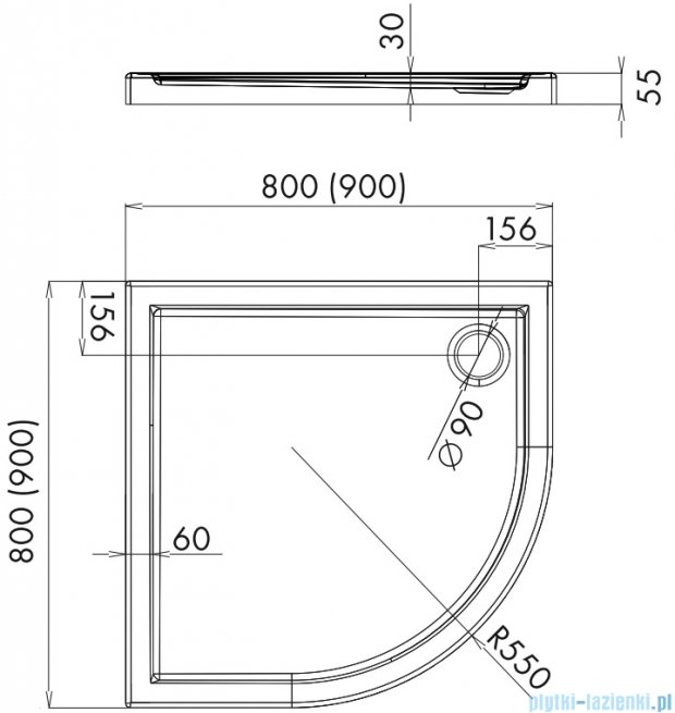 Alterna brodzik akrylowy półokrągły 80x80x5,5 cm ALTN-952597