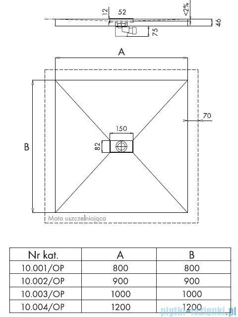 Schedpol Brodzik posadzkowy podpłytkowy z odpływem punktowym 100x100x5/12cm 10.003/OP