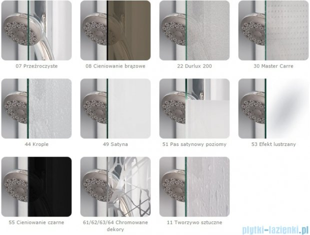 SanSwiss Melia MET1 ścianka prawa 100x200cm pas satynowy MET1PD01001051