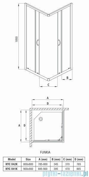 Deante Funkia kabina kwadratowa 90x90x185 cm grafitowe KYC 441K