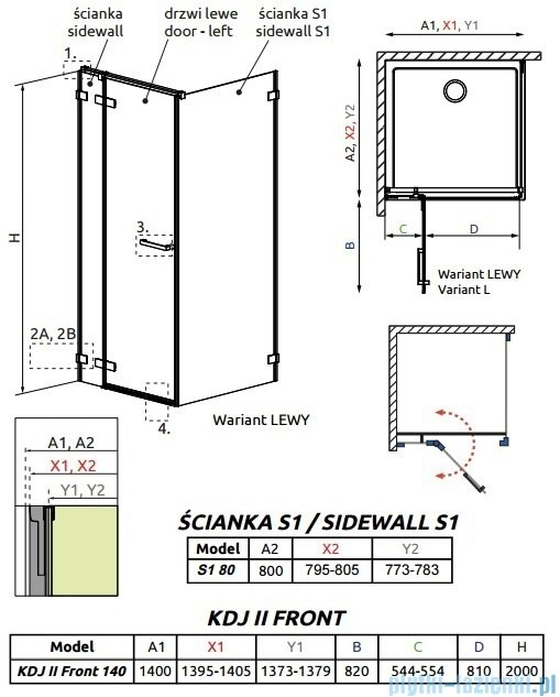 Radaway Arta Kdj II kabina 140x80cm lewa szkło przejrzyste 386457-03-01L/386046-03-01L/386020-03-01