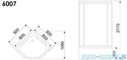 Duschy Kabina z hydromasażem szkło niebieskie 80x80cm model 6007