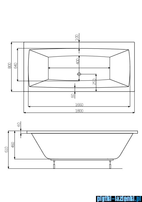 Roca Vita wanna prostokątna 180x80 cm akrylowa A24T074000