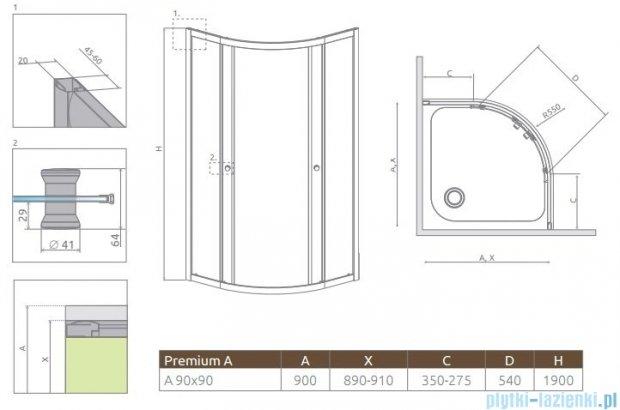 Radaway Premium A Kabina półokrągła 90x90x190 szkło przejrzyste 30403-01-01
