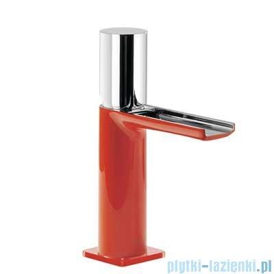 Tres Loft Colors Bateria umywalkowa z korkiem automatycznym wylewka kaskada otwarta kolor czerwony 200.110.02.RO.D