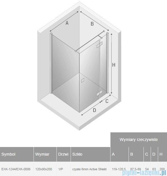 New Trendy Reflexa 120x90x200 cm kabina prostokątna prawa przejrzyste EXK-1244/EXK-0006