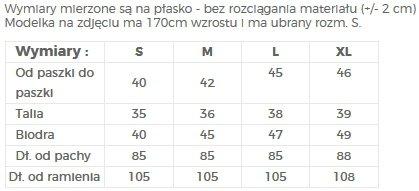 TABELA ROZMIARÓW / CIEPŁA SUKIENKA Z RĘKAWAMI 3/4 - NUMOCO