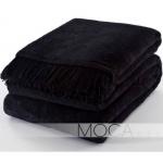 Koc Moca Design / frędzle - czarny