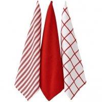 Ścierki kuchenne Ladelle Butcher Stripe - komplet 3 szt. - biało-czerwone