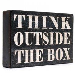 Dekoracja / tablica - THINK OUTSIDE THE BOX
