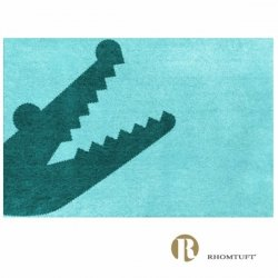 Dywanik łazienkowy Rhomtuft - Croc - niebieski morski