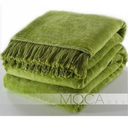 Koc Moca Design / frędzle - zielony jasny