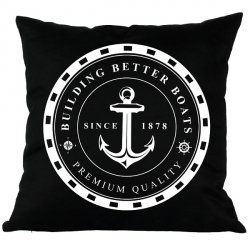 Poduszka French Home - Marynarska Anchor - czarna
