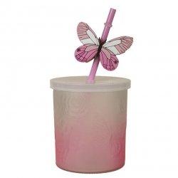 Słoik ze słomką Butterfly - różowy