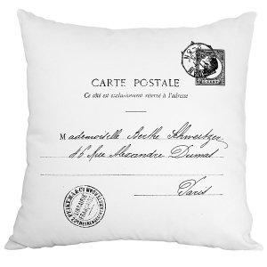 Poduszka French Home - Carte Postale - biała