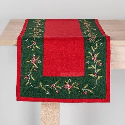 Bieżnik świąteczny CHRISTMAS - czerwono-zielony 40x170 cm