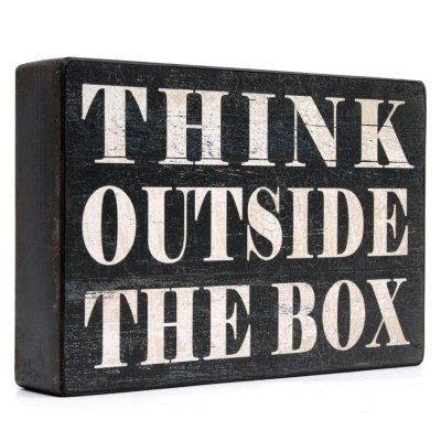 Dekoracja / tablica - THINK OUTSIDE THE BOX