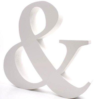 Znak dekoracyjny - & - biały 43 cm