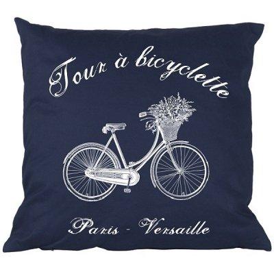 Poduszka French Home - Bicyclette - granatowa