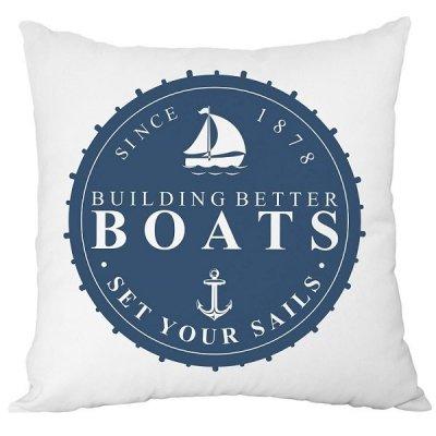 Poduszka French Home - Marynarska Boats - biała