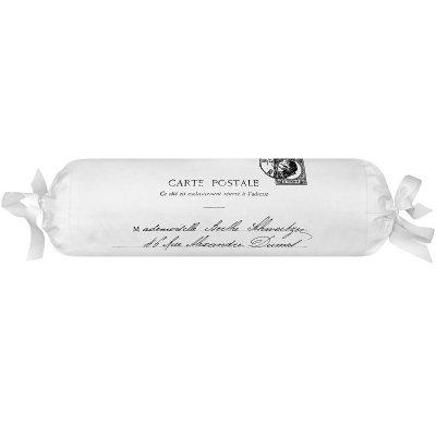 Poduszka dekoracyjna wałek French Home - Carte Postale - biała