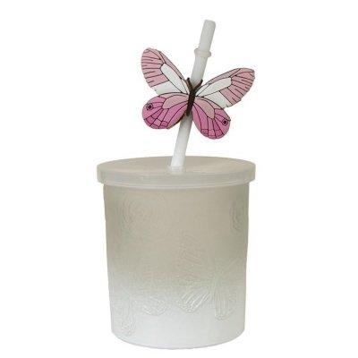 Słoik ze słomką Butterfly - biały