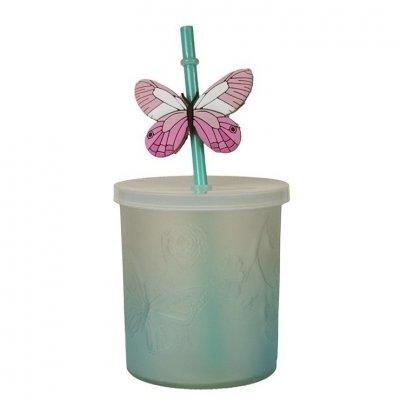 Słoik ze słomką Butterfly - niebieski