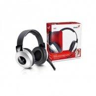 Genius, HS-05A, słuchawki z mikrofonem, regulacja głośności, czarno-srebrna, 3.5mm konektor