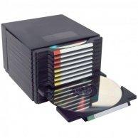 Box na 12 szt. CD, czarny, schody, wysuwany, LOGO