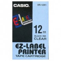 Casio taśma do drukarek etykiet, XR-12X1, czarny druk/przezroczysty podkład, nielaminowany, 8m, 12mm
