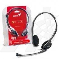 Genius, HS-200C, słuchawki z mikrofonem, czarna, 3.5mm konektor