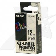Casio taśma do drukarek etykiet, Casio, XR-12WE1, czarny druk/biały podkład, nielaminowany, 8m, 12mm