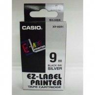 Casio taśma do drukarek etykiet, Casio, XR-9SR1, czarny druk/srebrny podkład, nielaminowany, 8m, 9mm