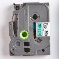 Brother taśma do drukarek etykiet, TZE-721, czarny druk/zielony podkład, laminowane, 8m, 9mm