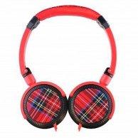 Colour your world, TARTAN, słuchawki, czerwona, 3.5mm konektor