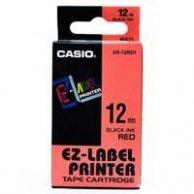 Casio taśma do drukarek etykiet, Casio, XR-12RD1, czarny druk/czerwony podkład, nielaminowany, 8m, 12mm