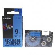Casio taśma do drukarek etykiet, XR-9BU1, czarny druk/niebieski podkład, nielaminowany, 8m, 9mm